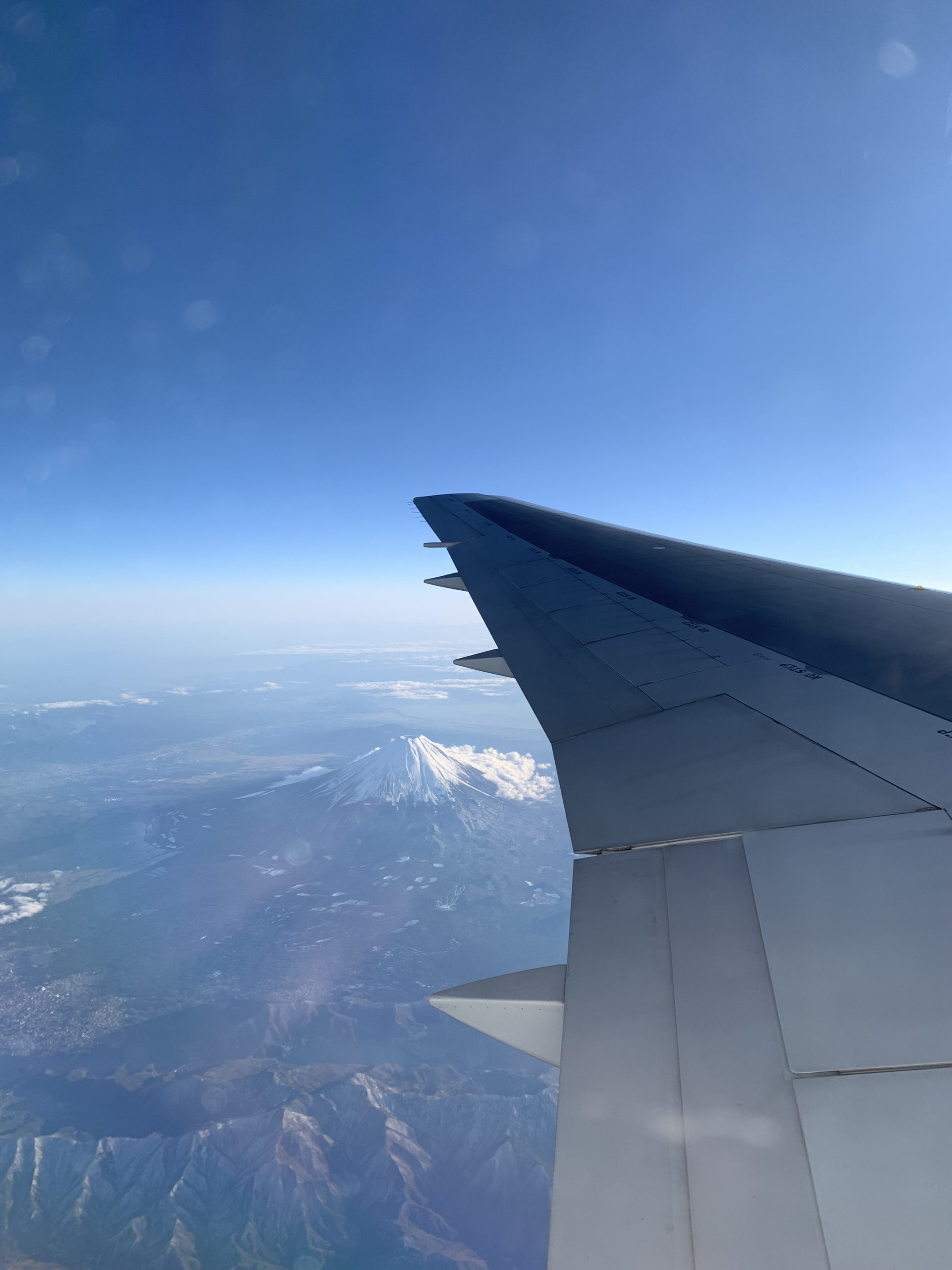 飛行機から見えた富士山