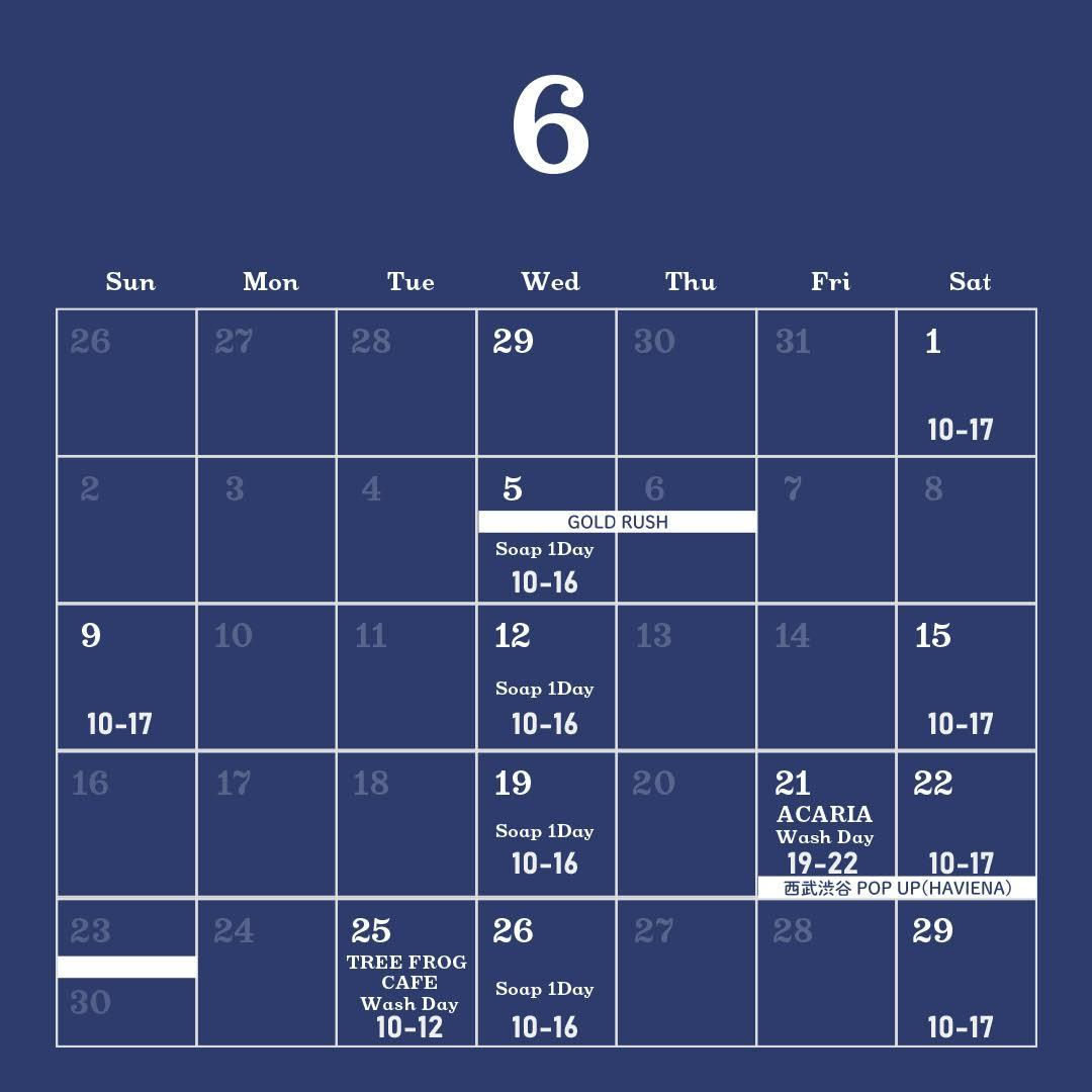 バブルマンストア2019年6月の営業カレンダー