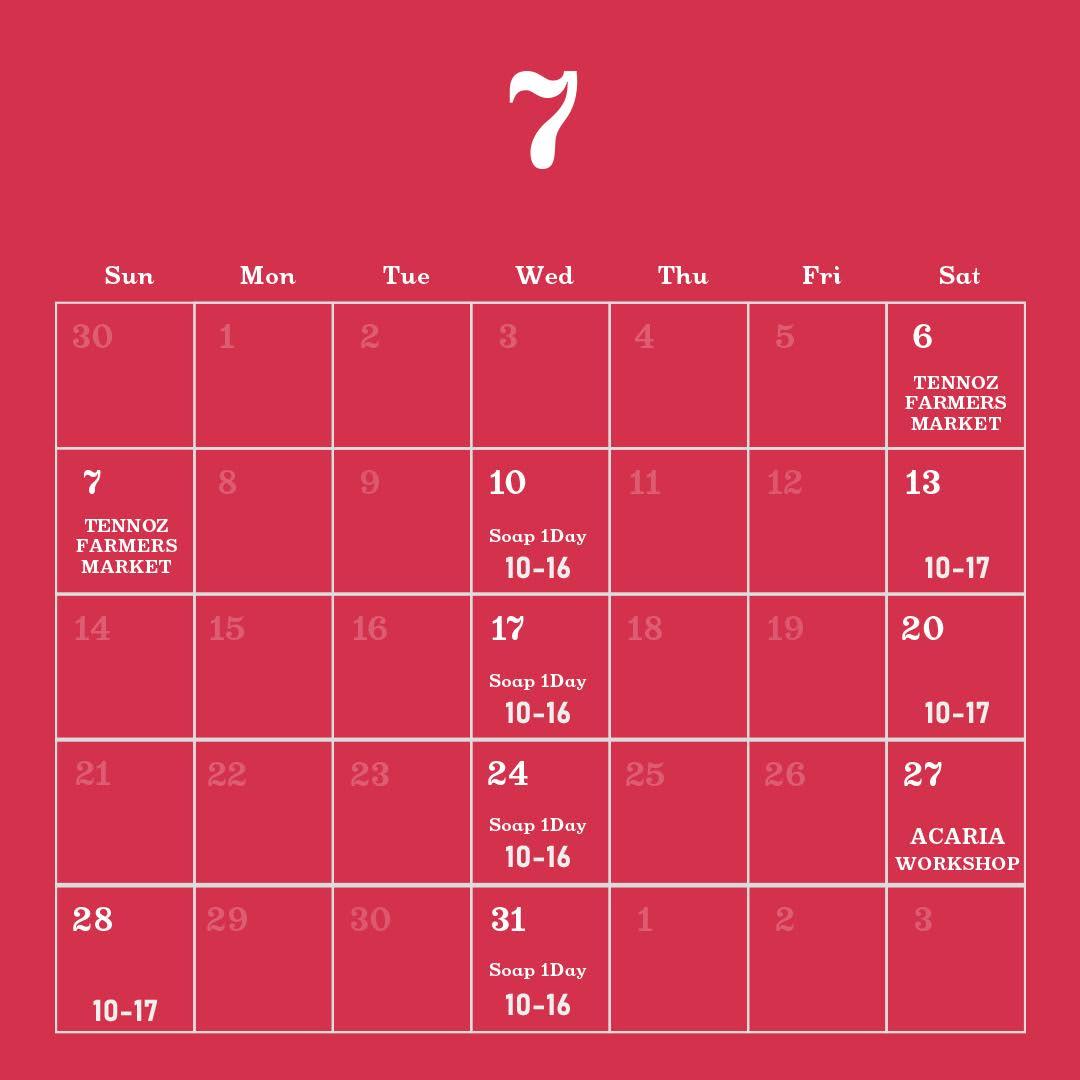 バブルマンストア2019年7月の営業カレンダー